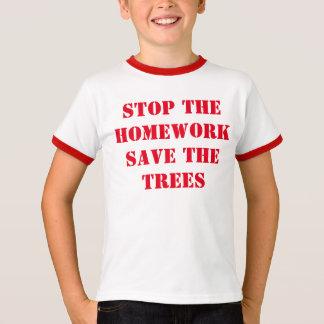 Camiseta Pare as economias dos trabalhos de casa as árvores