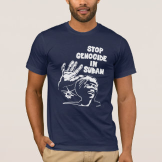 Camiseta pare o genocídio em Sudão (a cor, unisex escuros)