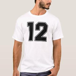 Camiseta Parte dianteira do número 12 e impressão da parte