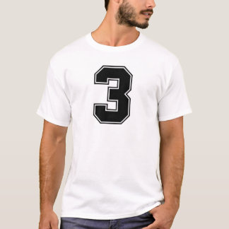 Camiseta Parte dianteira do número 3 e impressão da parte