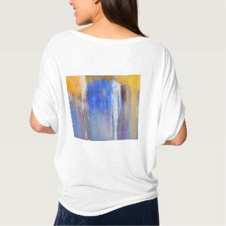 Camiseta Parte superior abstrata azul e amarela orgânica do