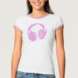 Camiseta Parte superior cor-de-rosa do auscultadores