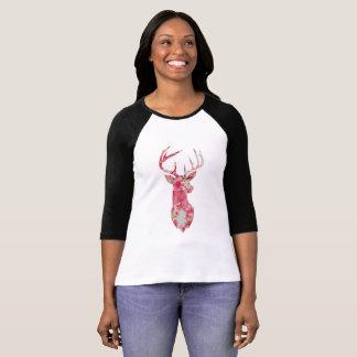 Camiseta Parte superior cor-de-rosa do veado da flor