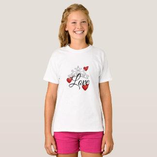 Camiseta Parte superior das meninas com amor & tiara dos