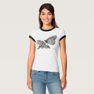 Camiseta Parte superior das senhoras da borboleta & da flor