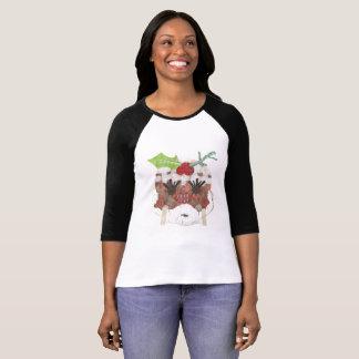 Camiseta Parte superior do Raglan da Senhora Pudim Nenhum