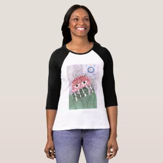 Camiseta Parte superior do Raglan das mulheres do pente das