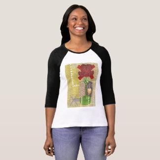 Camiseta Parte superior do Raglan das mulheres do vaqueiro