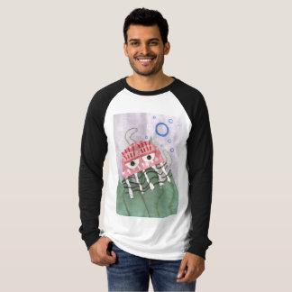 Camiseta Parte superior do Raglan dos homens do pente das