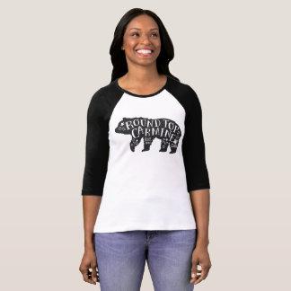 Camiseta Parte superior redonda - urso Cub do carmim