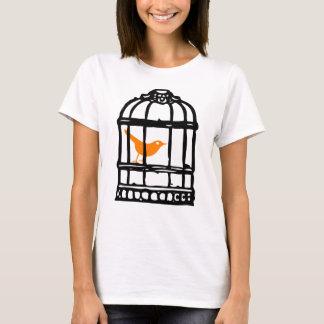 Camiseta Pássaro alaranjado na gaiola, casa do pássaro,