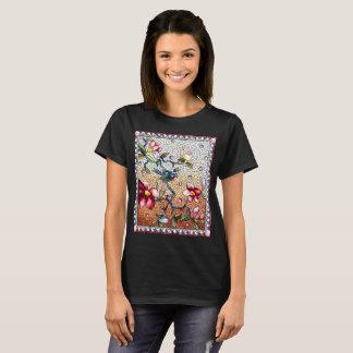 Camiseta Pássaro do mosaico do vintage e t-shirt das flores