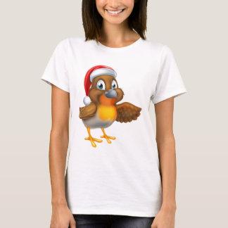 Camiseta Pássaro do pisco de peito vermelho do Natal dos