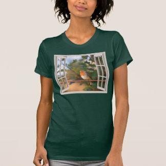 Camiseta Pássaro do pisco de peito vermelho na janela