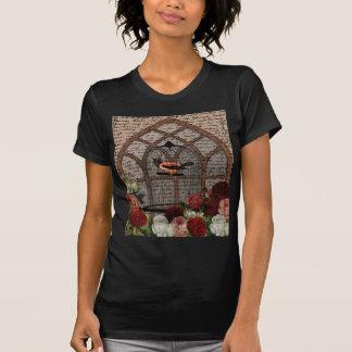 Camiseta Pássaro do vintage na gaiola