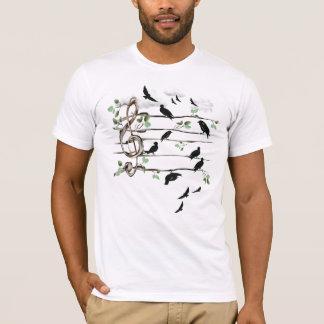 Camiseta Pássaros da nota musical - preto
