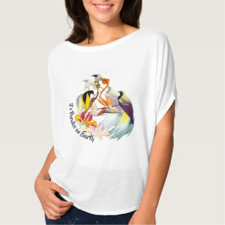 Camiseta Pássaros de paraíso exóticos e de aguarela das