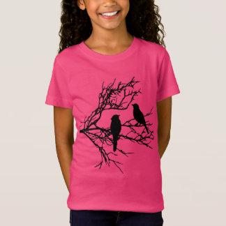Camiseta Pássaros em um ramo, silhueta preta