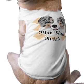 Camiseta Pastor australiano - retrato azul de Merle
