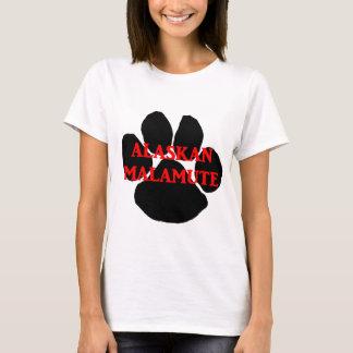 Camiseta pata do nome do malamute do Alasca