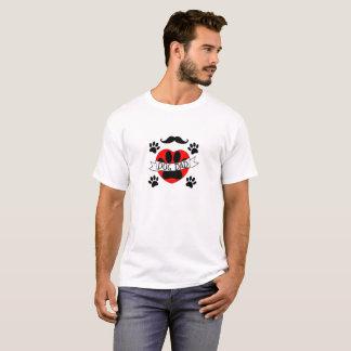 Camiseta Pata do pai do cão e desenho vermelho do coração