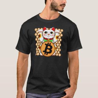 Camiseta Pata dobro de Bitcoin do gato afortunado de Maneki