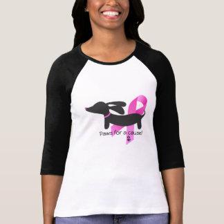 Camiseta Patas para um Dachshund do cancro da mama | da