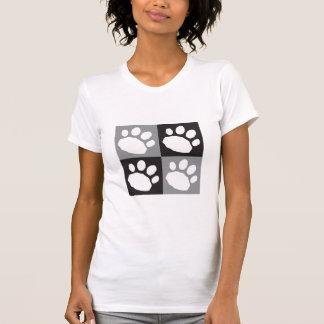 Camiseta Patas pretas e cinzentas do animal de estimação do