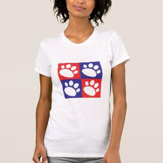 Camiseta Patas vermelhas e azuis patrióticas do animal de