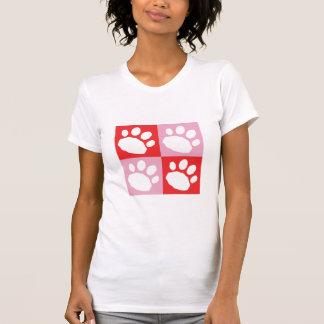 Camiseta Patas vermelhas e cor-de-rosa do animal de