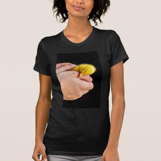 Camiseta Patinho recém-nascido do sono nas mãos humanas
