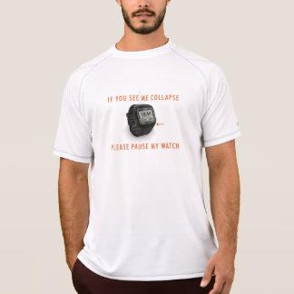 Camiseta Pausa meu t-shirt seco dobro da malha do relógio