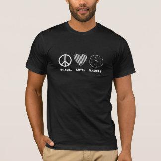 Camiseta Paz. Amor. Bagels. T-shirt escuro