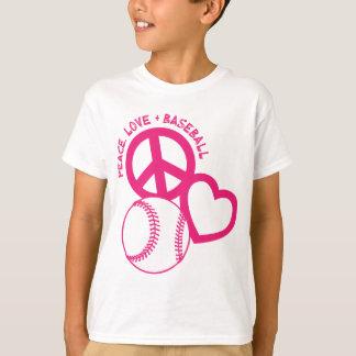 Camiseta Paz-Amor-Basebol, melão