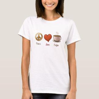 Camiseta Paz, amor, café