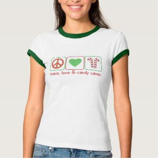 Camiseta Paz, amor e bastões de doces