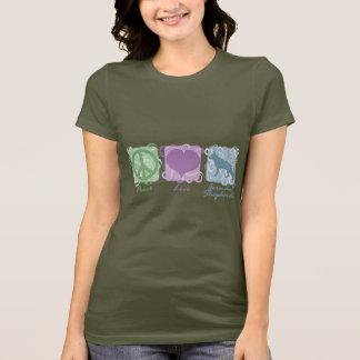 Camiseta Paz, amor, e german shepherd Pastel