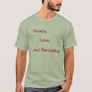 Camiseta Paz, amor, e panquecas