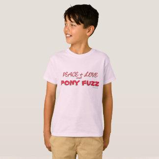 Camiseta Paz + Amor e poeira de papel do pônei