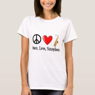 Camiseta Paz, amor, e saxofone