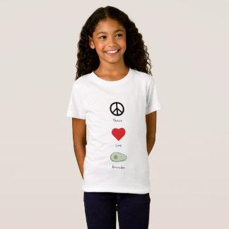 Camiseta Paz, amor, e t-shirt do miúdo dos abacates
