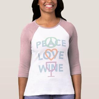 Camiseta Paz, amor e vinho