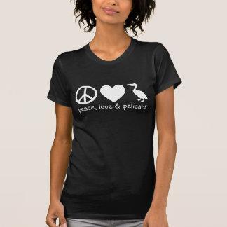 Camiseta Paz, amor & t-shirt dos pelicanos