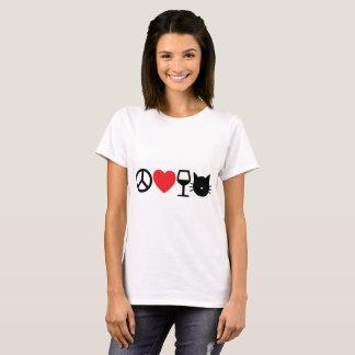 Camiseta Paz, amor, vinho e gatos