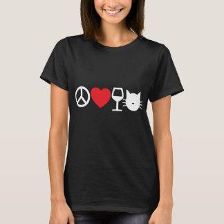 Camiseta Paz, amor, vinho e gatos (escuros)