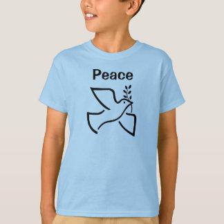 Camiseta Paz com o t-shirt dos meninos da pomba