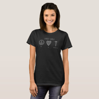 Camiseta Paz de mundo perfeita cristã, amor, Homeschooling