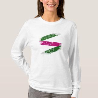 Camiseta Paz do Natal, amor, T dos flocos de neve da