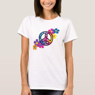 Camiseta Paz e t-shirt do Hippie das flores 60s