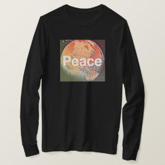 Camiseta Paz no t-shirt longo da luva da terra